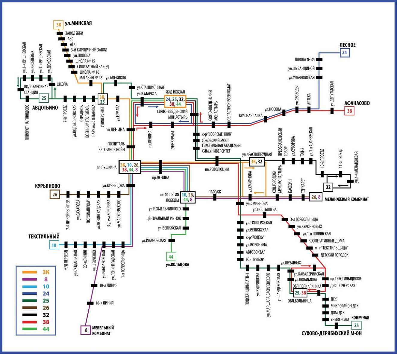 Схемы автобусных маршрутов иваново